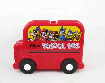 Vintage Disney School Bus Character Lunchbox with Thermos. Circa 1990's.