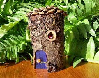Mini Pixie Indigo Fairy House with Crosscut Branch Window, LadyBug & Pine Cone Shingle Roof