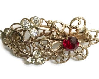 Rhinestone Brooch, Ruby Red Pin, 1940s-1950s,  Mid Century Jewelry, Gold Tone, Floral, Flower