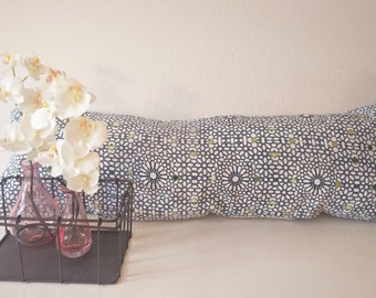 Blue Lattice Long Cushion