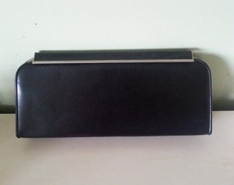 Vintage black clutch, vintage leather clutch, 1940 clutch, 1940 leather clutch, 1940 purse, vintage 1940 purse A4