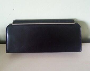 Vintage black clutch, vintage leather clutch, 1940 clutch, 1940 leather clutch, 1940 purse, vintage 1940 purse A4