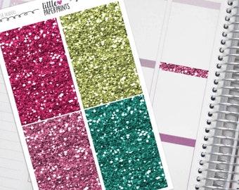 "32 Headers - ""A Summer Paradise"" Glitter Series Stickers - Glitter Sparkle Header Planner Stickers"