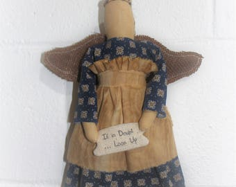 Primitive Rag Doll Angel with Banner