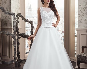 50% Off,Romantic White Handmade Wedding Dress that Features Illusion Neckline, Bridal Gown, Lace Up, A Line, Buy Online High Quality Gown