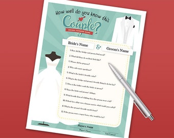 Bridal Shower Party Game - How Well Do You Know This Couple? - Printable PDF Download