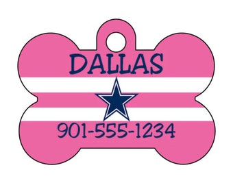 Dallas Cowboys Pink Pet Id Tag for Dogs and Cats Personalized w/ Your Pet's Name and Number