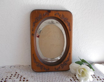 Vintage Carved Oval Wood Picture Frame 5 x 7.75 Photo Decoration Rustic Country Western Home Decors Wedding Memory Decoration Gift Him Her
