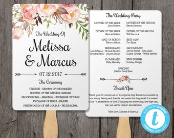Watercolor Wedding Program Fan Template with Flowers, Wedding Fan Template, Watercolor Floral Instant Download Ceremony Program Template