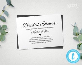 Bridal Shower Invitation Template, Printable Bridal Shower Template, Bridal Shower Invite, Instant Download Wedding Shower Template