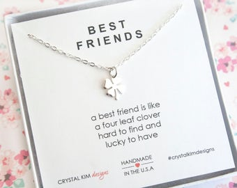 Sterling Silver Tiny Four Leaf Clover Necklace, Best Friend Gift, Friendship Necklace, Good Luck Charm, Dainty Necklace, Graduation Gift