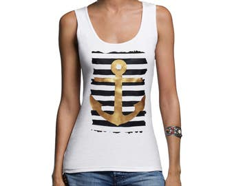 Tank Top with print Top with anchor maritime top Marine Top graphic top with stripes stretchy S M L XL XXL white or navy