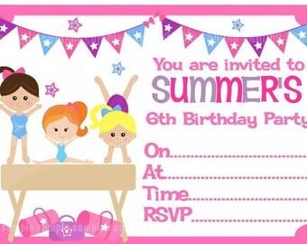 Personalised Girls Disco - Gymnastics -  Birthday Party Invitations x 10 with envelopes