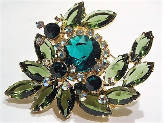 Juliana Green Rhinestone Brooch / Verified