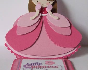 Little Princess Girl's Birthday Card 3D Decoupage Card with Matching Envelope Pretty as a Princess Pink Special Birthday Card Easel Card
