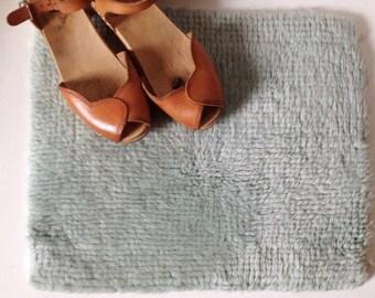 Vintage latch hook rug, small mint green handmade wool mat