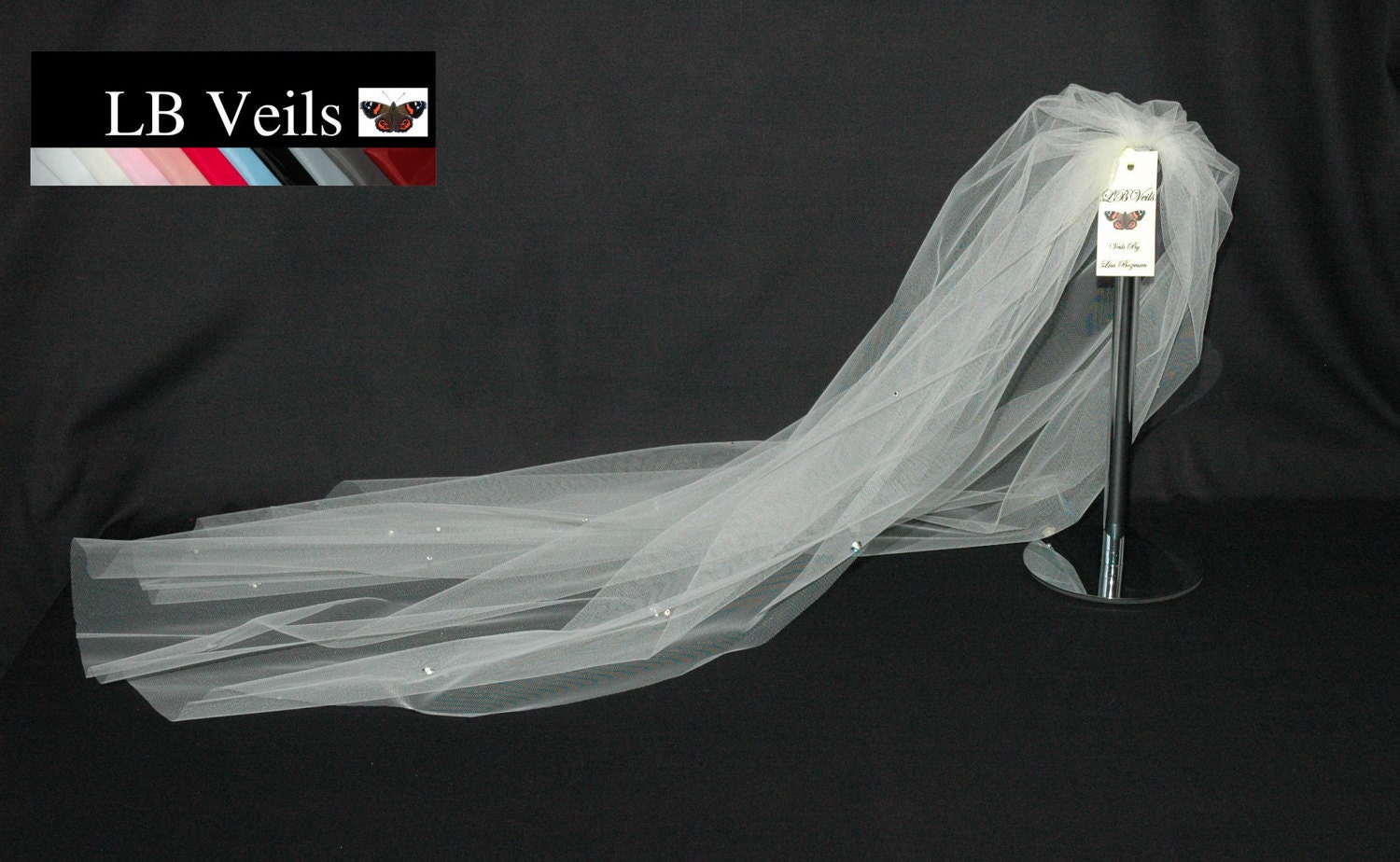 Designer Wedding Veil 1 Single Tier Crystal Diamante And Pearl Flowers Any Colour Or Length LBV37s LB Veils