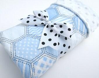 Baby Stroller Blanket - Hexagon Baby Blanket - Baby Boy Blanket - Blue and White Hexagon Print - White Minky
