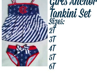 Girls Anchor Tankini Set