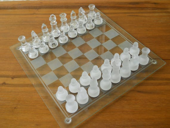 Glass Chess Set Small Glass Chess Play Vintage Board Game
