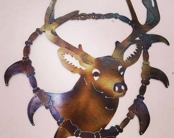Deer metal art, deer wall hanging, deer wall decor, woodland, rustic, trophy buck, whitetail deer, deer bear claw,