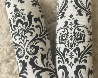 Black and White Damask Neck Strap Covers, Baby's and Toddler's Strap Cover Set for Baby Car Seat, Car Seat Cover Accessory, Seat Belt Cover