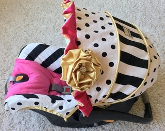Hot Pink and Gold Custom Car Seat Cover, 4 PC Set Baby Car Seat Covers, Stripe Custom Infant Car Seat Cover, Baby Girl Infant Car Seat Cover