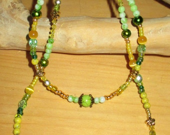 """18""""ag doll jewelry, doll/child's yellow and green necklace set,  childs yellow and green necklace,  OR purchase seperately"""