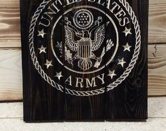 Carved Army Emblem Pallet Sign FREE SHIPPING in the USA