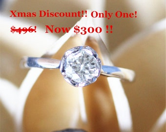 Xmas Discount! Solitaire Ring,Moissanite Ring,Floral Shape,5mm Round Cut Foerever Classical Moissanite Engagement Ring,14K White Gold Ring