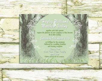 Printable Wedding Invitation / Rustic Wedding Invitation / Sage Green Wedding Invitation / Tree Design Invitation / Custom Made Invitation