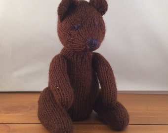 Hand knitted teddy, hand knitted bear, knitted teddy, knitted teddy bear, teddy toy, teddy bear toy
