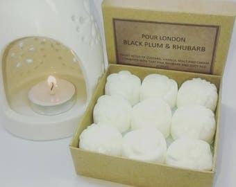 Free UK shipping! Black Plum & Rhubarb Scented Soy Wax Melts x 9