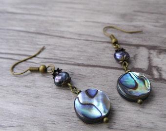 Pearl Earrings Abalone Shell Earrings Boho Earrings Bead drop BOHO Dangle Earrings Abalone Earrings Abalone Shell Bead Earrings ED-021