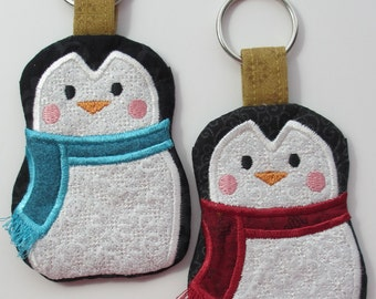 Penguin Keychain, Penguin Gifts, Penguin Cardholder, Embroidered Penguin Keychain, Penguin Key Chain, Christmas Penguin with Scarf