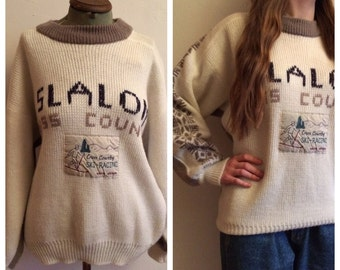 80s 90s Vintage Winter Skiing Sweater/Jumper - M