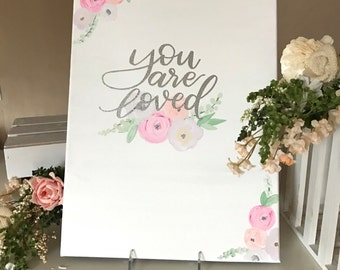 Pastel floral canvas| you are loved |