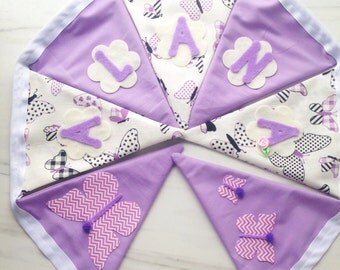 Personalised Fabric bunting banner in white and light purple pattern with felt name