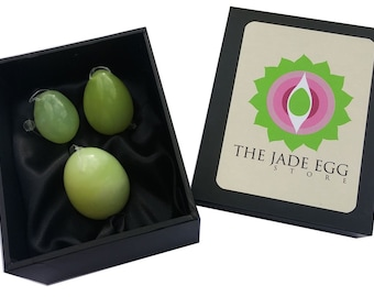 Jade Egg Set for Kegel Exercises; Set of 3 with Instruction Guide