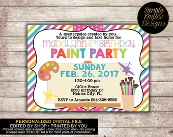 Art Party Invitation - Paint Party Invitation
