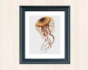 Jellyfish Stitch Pattern Jelly Embroidery Instant Download Nautical Decor Marine Decoration Jellyfish Underwater Stitch Deep Sea Decor