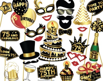 75th Birthday Photo Booth Props DIY / Seventy Fifth Birthday Party Photobooth Props / Colorful Black Gold / Printable PDF ▷ Instant Download