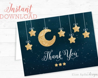Twinkle Twinkle Little Star Baby Shower Thank You Card, Instant download