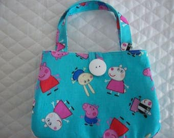 "Peppa Pig and Friends Little Girl's purse,Button to close, Comes in two sizes,Small 7"" x 5"" x 2"",Large 6.5"" x 8.5"" x 2.5"""