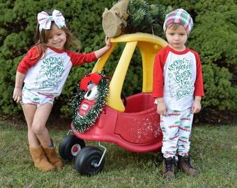 rockin around the christmas tree shirt, Christmas outfit, unisex christmas raglan, boy christmas, girl christmas, xmas shirt, baseball tee