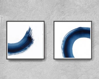 Abstract Art Print Set, Printable Art, Minimalist, Coastal Colors, Scandinavian Art, Set of 2 Prints, navy blue and white, industrial art