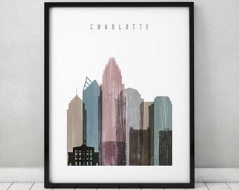 Charlotte art print, Charlotte skyline Poster, Distressed Wall art, North Carolina, City posters, Travel gift, Home Decor, ArtPrintsVicky
