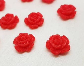12mm Red Sugar Rose Faux Druzy Cabochon - 10 pcs