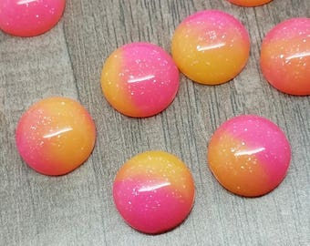 12mm Hot Pink and Orange Ombre Unicorn Cabochon - 10 pcs