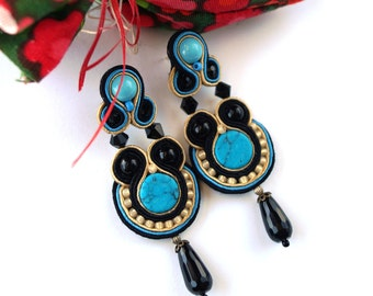 Long Turquoise Soutache Earrings , Dangle Drop Earrings , Blue Gold Earrings ,Soutache Earrings , Hand Embroidered, Soutache Jewelry